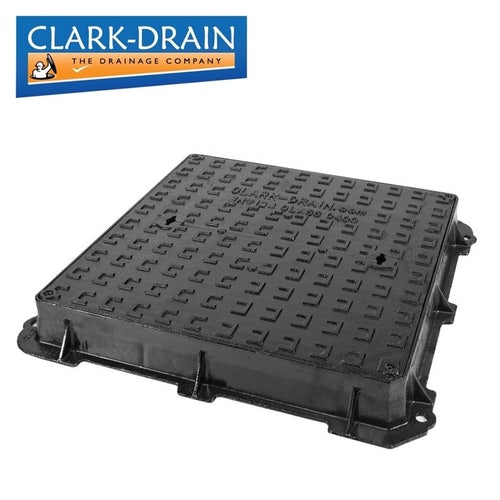 Clark Drain Iron Double Sealed and Locked Ductile Manhole Cover 600 x 600 x 100mm