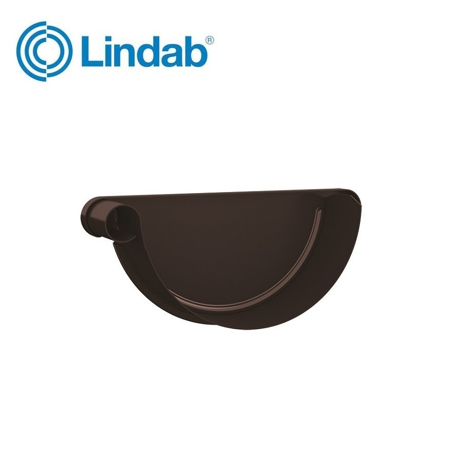 Video of Lindab Half Round Left Handed Stop End 190mm - Painted Coffee Brown