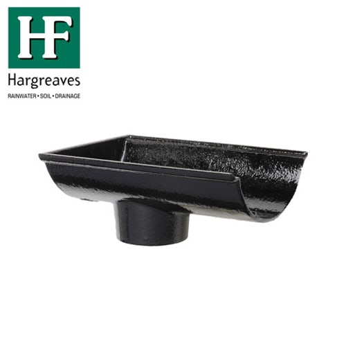 Cast Iron Beaded Guttering Dropend Internal 125 x 65mm Outlet Black