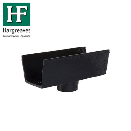 Cast Iron Box Guttering 65mm Outlet 100mm x 65mm - Black Finish