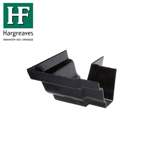 Cast Iron G46 Moulded Guttering 90dg External Angle - 125mm x 100mm Black Finish