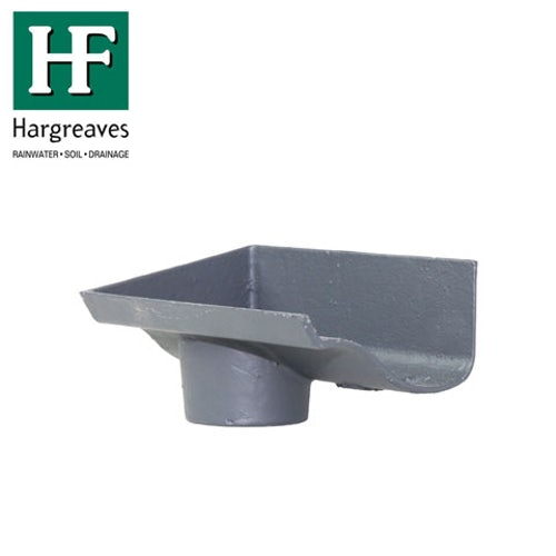 Cast Iron OG Guttering Dropend Internal 100x65mm Outlet -Primed Finish