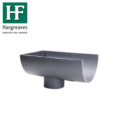 Cast Iron Deep Style Guttering Dropend Internal 100x65mm Outlet Primed