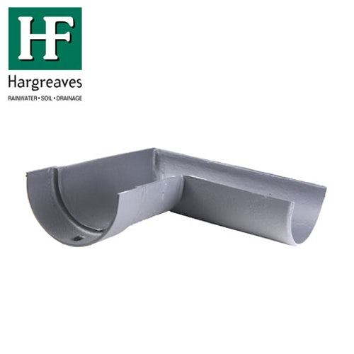 Cast Iron Deep Style Guttering 90Dg Right Hand Angle - 100mm Primed