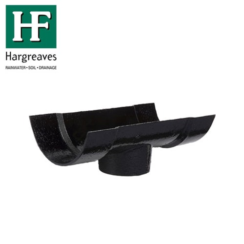 Cast Iron Half Round Guttering Running 125x65mm Outlet - Black Finish