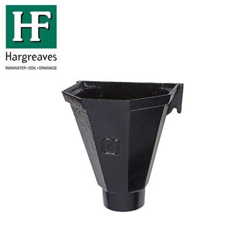 Cast Iron Hopper Head Flatback 65mm - Black Finish