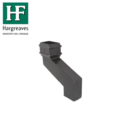 Cast Iron Rectangular Downpipe 150mm Side Offset 100mm x 75mm - Black