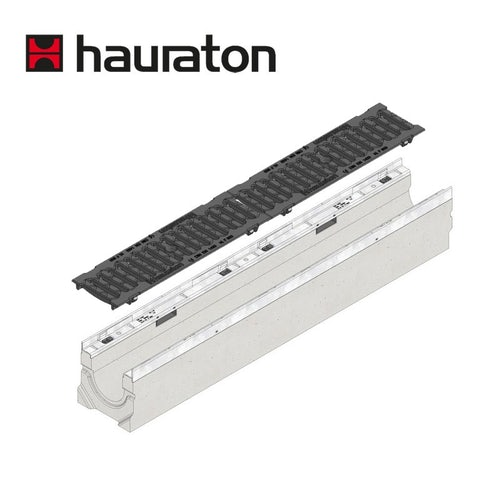 Hauraton Channel Drain Heelsafe Iron Grating 1m Faserfix KS200 - D400