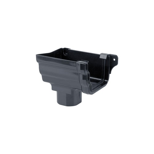 Plastic Guttering Ogee Prostyle Stop End Outlet LH 106mm - Anthracite