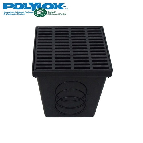 Polylok 300mm Square Catch Basin with Black Grate