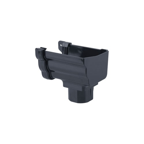 Plastic Guttering Ogee Prostyle Stop End Outlet RH 106mm - Anthracite