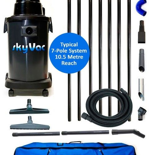 Gutter Cleaning System SkyVac Atom 7 Pole Package - 10.5m Reach
