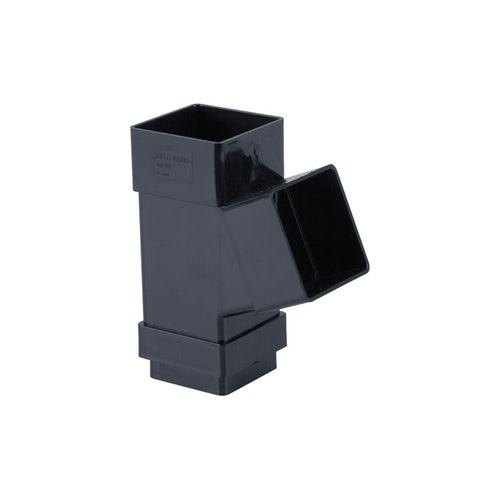 Plastic Guttering Square Downpipe 112.5dg Branch 65mm - Anthracite
