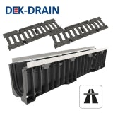 Heavy Duty Channel Drain with Iron Grating 1000 x 158 x 161mm - D400