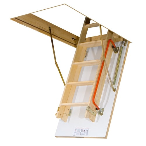 Fakro LDK Sliding Section Wooden Loft Ladder - 70cm x 140cm x 3.35m