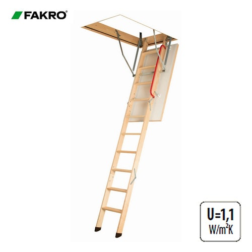 Fakro LWK Komfort Wooden Loft Ladder 3 Section - 70cm x 130cm x 3.05m