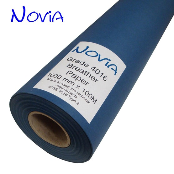 Novia Blue Breather Paper for Wall Cladding to BS 4016 - 100m x 1m