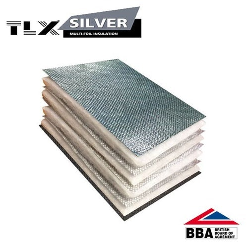 TLX Silver Thinsulex Multifoil Roofing Insulation Vapour Barrier - 1.2m x 10m Roll