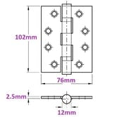 """3 Pack of Grade 11 Fire Rated Ball Bearing Door Hinges 4"""" x 3"""" (2.5mm Thick)"""