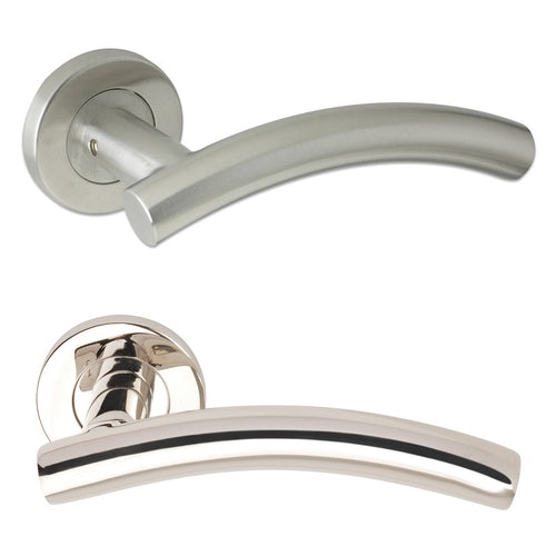 Excel Pair of ARCHED T BAR Internal Lever on Rose Door Handles in Polished Stainless Steel