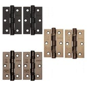 """Excel Pair of Grade 7 Ball Bearing Butt Door Hinges 3"""" x 2"""" (2mm Thick)"""