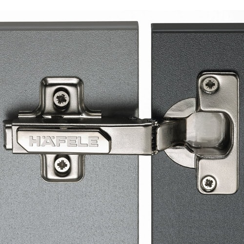 Hafele Standard 110 Degree Concealed Cabinet Hinge (Click On)  - Pre-Mounted Euro Screw (0mm Height)