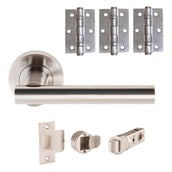 JB Kind Tube Lever on Rose Door Handle Pack Passage or Privacy