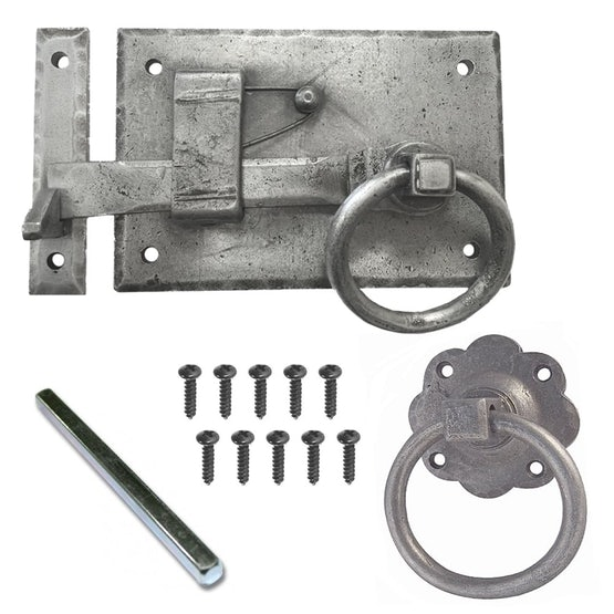 Jedo LH Hand Forged Pewter Heavyweight Ring Pull Door Gate Latch