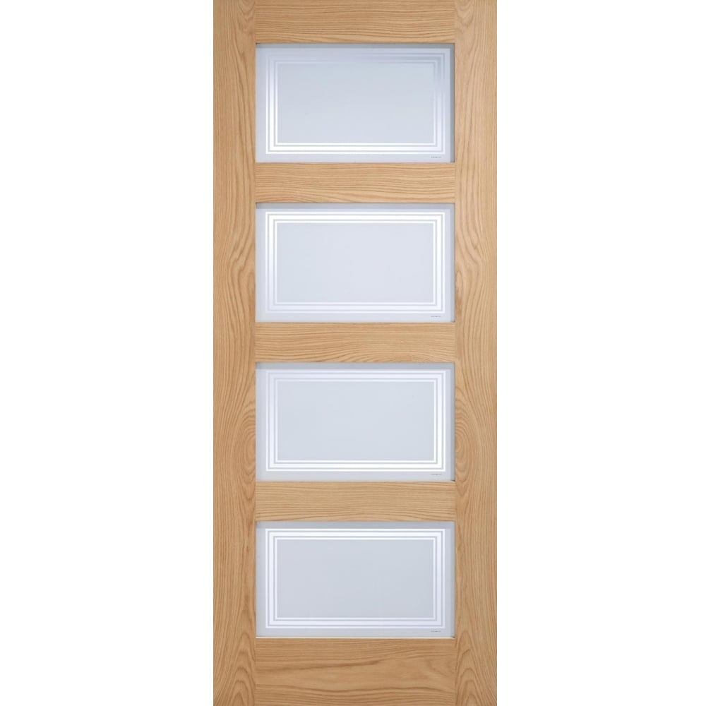Lpd Internal Oak Contemporary 4 Light Frosted Clear Lines Glazed Door Super