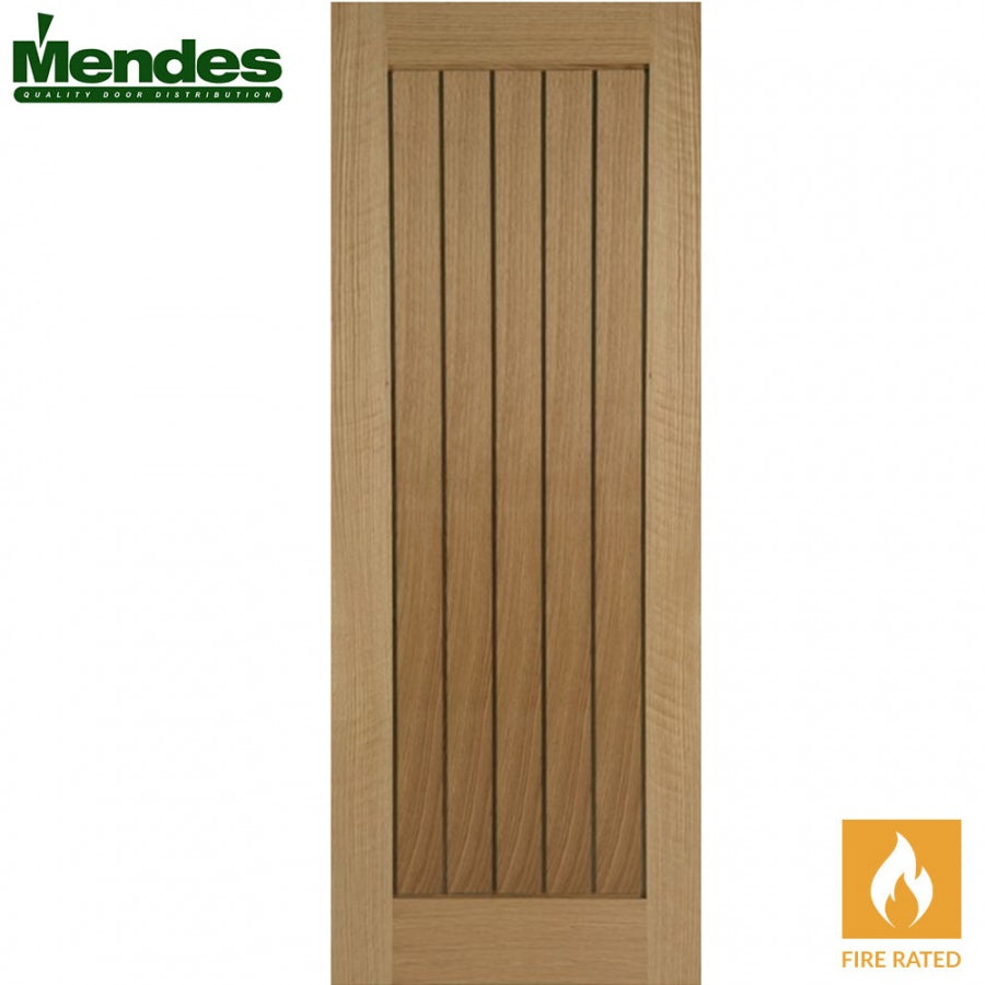 Mendes Mexicano Internal Un-Finished Oak Grooved Fire Door 610mm