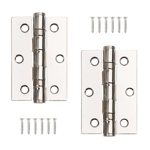 Excel Pair of Grade 7 Ball Bearing Butt Door Hinges Polished Chrome 3