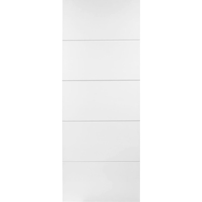 Premdor Internal White Primed HORIZONTAL 4 LINE Moulded Smooth Fire Door FD30 (826 x 2040 x 44mm)