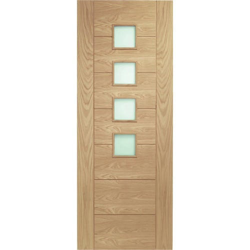 XL Joinery Internal Oak Palermo 4 Light Obscure Glazed Fire Door FD30