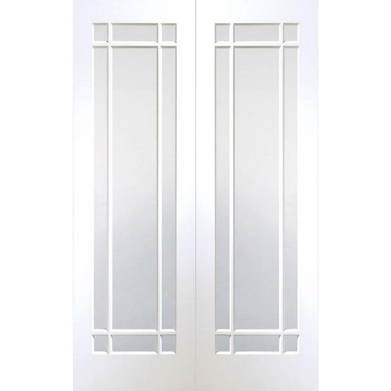 """XL Joinery Internal White Primed CHESHIRE Clear Glazed Door Pair (46"""" x 78"""")"""