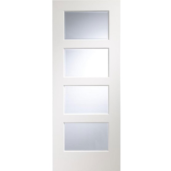 """XL Joinery Internal White Primed SEVERO Pre-Finished 4L Clear Bevelled Glazed Door (27"""" x 78"""")"""
