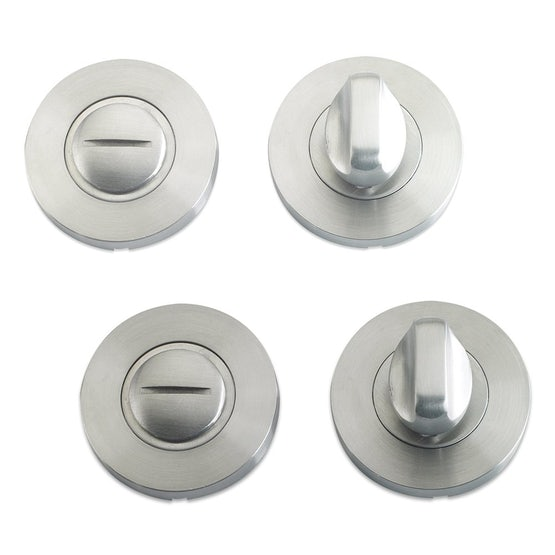 Zoo Hardware Bathroom Door Privacy Thumb Turn and Release Set in Polished Stainless Steel