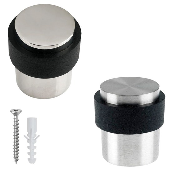 Zoo Hardware Cylinder Floor Mounted Rubber Door Stop Polished Stainless Steel 30mm