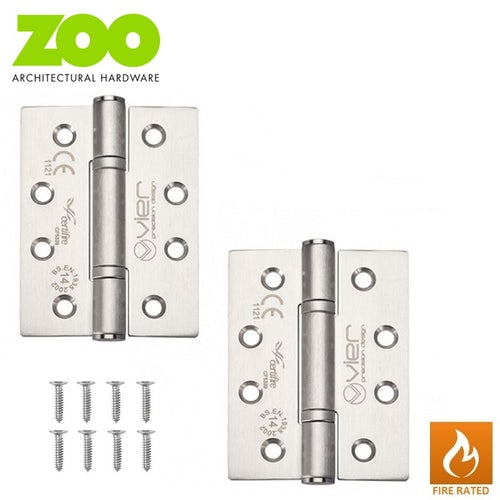 """Pair of Grade 14 High Performance Fire Rated Door Hinges 4"""" x 3"""" (3mm Thick)"""