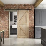 JELD-WEN Mindi Framed Ledged and Braced Unfinished Sliding Barn Door
