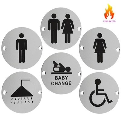 Stainless Steel Toilet and Bathroom Door Facility Signs 76mm
