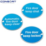 Consort 76mm Stainless Steel Fire Door Signage