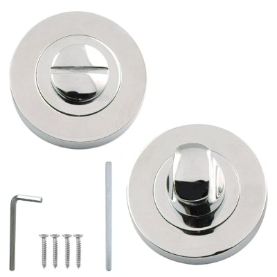 Excel Designer LINEA / AZTEC Polished Chrome Bathroom Door Thumbturn & Release Set