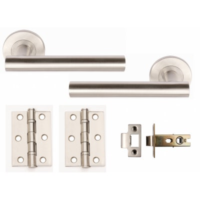 Excel Door Handle Pack T Bar Lever on Rose Pair Hinges Latch Satin Stainless Steel