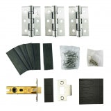 Fire Essentials Grade 13 Stainless Steel Fire Rated Hinge 3 Pack and 76mm Tubular Latch Set with Intumescent Pads