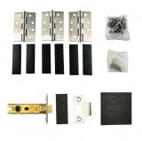 Fire Essentials Grade 7 Stainless Steel Fire Rated Hinge 3 Pack and 64mm Tubular Latch Set with Intumescent Pads