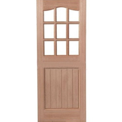 LPD External Hardwood 9 LIGHT Unglazed Stable Front Door D&G