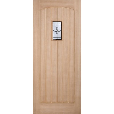 LPD External Oak CHESHAM Warmer Part L Part Obscure Double Glazed Door D&G