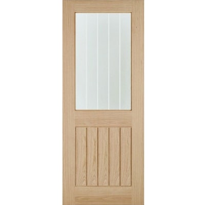 LPD Internal Oak BELIZE 1 Light Silkscreen Glazed Cottage Door