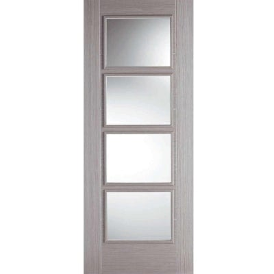 LPD Internal VANCOUVER Light Grey Pre-Finished 4 Light Clear Glazed Door