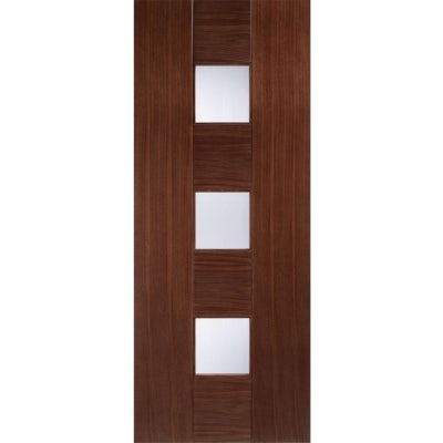 LPD Internal Walnut CATALONIA Pre-Finished Linea Toughened Glazed Door